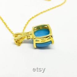 1.22 Ct Cushion Cut Turquoise and Diamond Solitaire Engagement Pendant Necklace With Solid 14K Yellow Gold Over