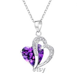 1.50 CT Solitaire Heart Shape Synthetic Amethyst Round Accent Simulated Diamond White Gold Over Double Heart Pendant Necklace Birthday Gift