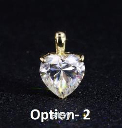 1.50 Carat DEW Colorless Excellent Heart Cut Moissanite Pendant 10K Solid White Rose Yellow Gold Moissanite Pendant for Anniversary Gift
