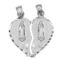 10k Two Tone Rose and Yellow Gold Break Apart Heart with Guadalupe Pendant, Solid Gold Heart Pendant with Quote Written on the Back