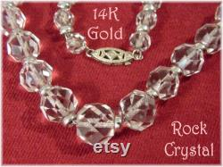 14K Gold Rock Crystal Faceted Necklace 40 14K White Gold Beads 14K Diamond Clasp Quartz Pools Of Light Orbs Celestial FREE SHIPPING