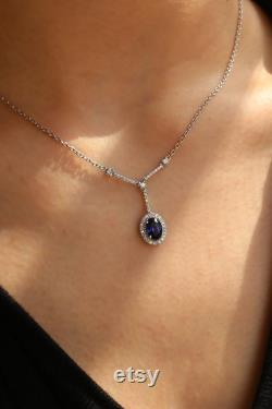 14K Gold Sapphire with Diamond Halo Necklace, Diamonds Necklace,Blue Sapphire Necklace, Halo Necklace, Dainty Diamond Necklace, Gift For Her