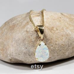 14K Gold Tear Drop White Opal Pendant, 14K Yellow Gold Opal Pendant Necklace, 7X10 Mm White Gemstone, Dainty Necklace, October Birthstone