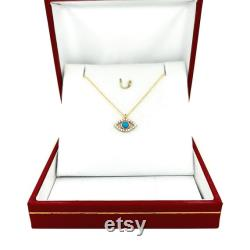 14K Gold Turquoise Evil Eye Necklace with Zircons, Dainty Solid Gold Necklace, Lucky Necklace