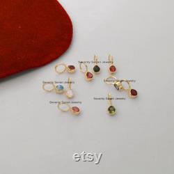 14K Pink Tourmaline Gemstone Pendant, 14k Gold 12 MM Tiny Drop Pendant, 14K Gold Jewelry, 14K Gold Dainty Pendant, 14K Gold Drop Pendant