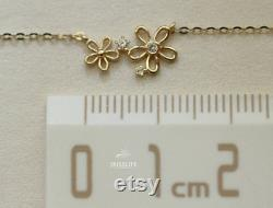 14K SOLID GOLD Small flowers Necklace, Delicate Flower Pendant Cable Chain Necklace, 14K Real Gold Necklace, Gift for HerMother's Day Gift