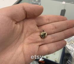 14K Solid Gold Heart Locket Pendant- for Photos, Messages, Sentimental