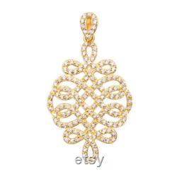 14K Yellow Gold Intertwined Charm, Abatract Pendant, CZ Necklace, Weave Charm, Charm Bracelet, Twisted Pendant, Pattern Charm, Woman Pendant
