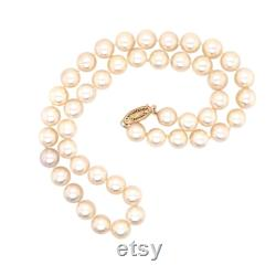 14K Yellow Gold Pearl Necklace.