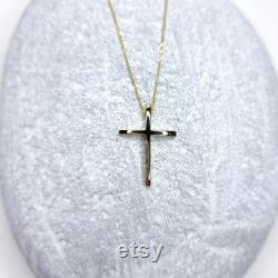 14K Yellow Solid Gold Cross Chain Pendant. Minimalist Christian Necklace. Classy Women Cross Casual Charm Necklace.