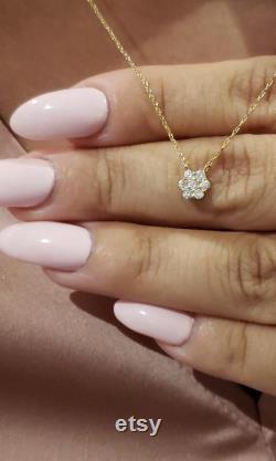 14Kt Gold Diamond Necklace, Diamond Pendant, Cluster Diamond Necklace, Natural Diamond Necklace, Beautiful Necklace