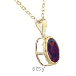 14Kt Gold Garnet Oval Bezel Pendant Necklace Gift For Her Dainty Bridesmaid Bridal Wedding Jewelry