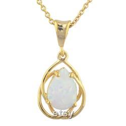14Kt Gold Opal Necklace, Opal Pendant, Teardrop Necklace, October Birthstone Necklace, SHIPS NEXT DAY