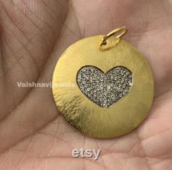 14k Gold Disc Pendant, Pave Diamond Circle Pendant, Yellow Gold Heart Pendant, Silver Diamond Love Pendant, Victorian Diamond Charm Necklace