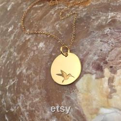 14k Gold Hummingbird Pendant Necklace for Women 14 Karat Gold Round Pendant Necklace 13 mm Pendant