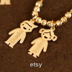 14k Gold Mother s Necklace with Engraved Children Charms, Personalized Family Name Necklace With boy girl Charms, Mom Kids Gold Charms.
