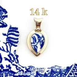14k Gold Pendant Necklace, Love Birds Broken China Jewelry, Romantic 20th Anniversary Gift for Wife, 50th Anniversary, Valentines Day Gift