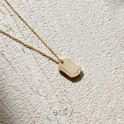 14k Gold Signet Necklace, Signet Pendant, Personalised Necklace, Personalised Pendant, Custom pendant, Custom engraved pendant, Gift for Her
