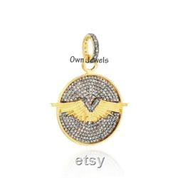 14k Gold Vermeil Pendant, Pave Diamond Aviator Pendant, Designer Wings Pendant, Women Diamond Pendant, 925 Silver Pendant Jewelry