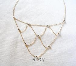 14k Two Tone Gold Beaded Graduated Necklace