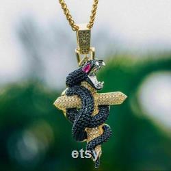 14k gold over Diamond Hip Hop snake pendant snake animal pendant Snake diamond pendant snake men pendant pendant gift to her
