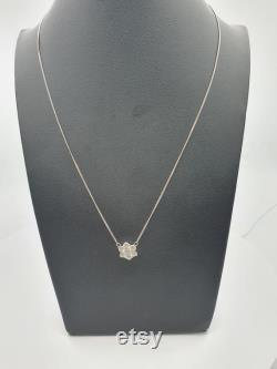 18Carat White Gold Diamond Flower Necklace with 1.00 carat VS G-H 16'' inch