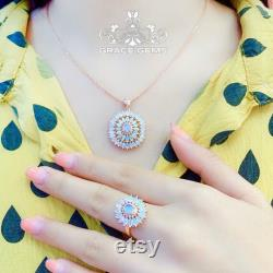18K Rose Gold Unique Shape Ethiopian White Opal Pendant with Authentic Diamonds Raw Stone Boulder Fire Opal Necklace Dragon Breath Opal