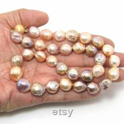 20 Organic Natural Multi-Color Genuine KASUMI Freshwater Cultured Baroque Pearl Necklace FN116