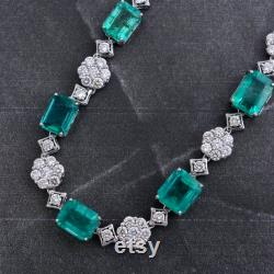 21.8 Ct Natural Diamond and 52.7 Ct Zambian Emerald Necklace 14k Gold Gemstone Jewelry SI Clarity Hi Color Diamonds 32 Inch Long Necklace