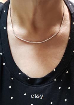 3.38 Ct Diamond Tennis Necklace, 16 inch Diamond Tennis Necklace, 14Kt Gold Genuine Natural Beautiful White Diamonds
