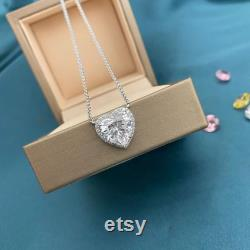 3.5 Ct Heart Halo Pendant Necklace, 10 mm Heart Cut, Sterling Silver, Gift for Her Girlfriend First Anniversary Valentines Day Mothers