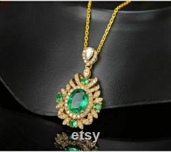 3.75 Ct Oval Cut Synthetic Green Emerald Halo Pendant 14K Yellow Gold Finish 18 Free Chain Valentine Gift Birthday Gift Anniversary Gift