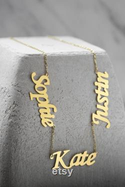3 Name Necklace, Solid Gold Name Necklace, Mother's Day Gift, Family Name Necklace, 14k Solid Gold Personalized Necklace