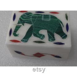3 x2 x1.5 Inch White Marble Malachite Elephant Inlay Handmade Jewelry Box