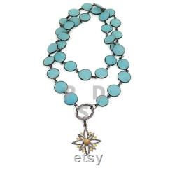 30 Long Aqua Chalcedony Connector Chain Necklace, Pave Diamond Oval Clasp and Diamond Starburst Pendant Necklace, Pave Diamond Pendant