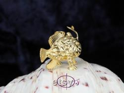 3D Frogfish Pendant in Solid Sterling Silver Gold Plated life-like Frog Fish with Necklace 13grams Anglerfish Sealife Scuba diver Jewelry