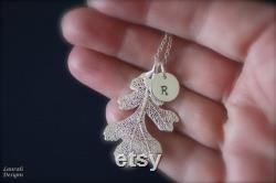 4 Bridesmaid Monogram Necklace, Bridesmaid Gift, Real Leaf Necklaces, Initial Charm, Pearl Necklace, Personalized Necklace, Thank You Card