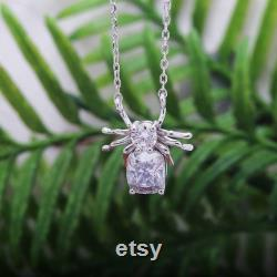 4ctw Spider Moissanite Pendant Necklace with Certificate, Cushion cut and Round Cut Moissanite Spider Pendant Silver 14k White Gold