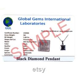 7 Ct Certified Black Diamond Solitaire Pendant With Round Brilliant Cut 925 Sterling Silver Earth Mined Diamond Gift For Wedding,Birthday