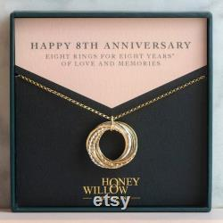 8th Anniversary Necklace The Original 8 Rings for 8 Years Necklace Mixed Metal
