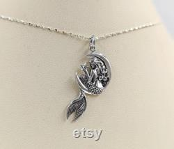 925 Silver Mermaid in the Moon Necklace Sterling Silver Mermaid Necklace Necklace with Mermaid in the Moon with Stars 925 Mermaid Pendant
