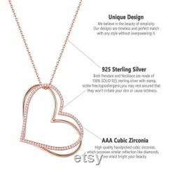 925 Sterling Silver Cable Chain Rose Gold Color Double Heart Pendant Necklace For Women AAA CZ Romantic Jewelry Gift