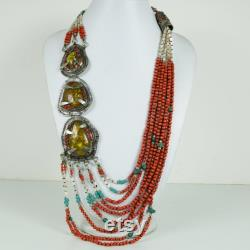 ABBN01 New Arrival Tibetan Natural Turquoise and Coral Handmade Hypoallergenic Ethnic Long Necklace