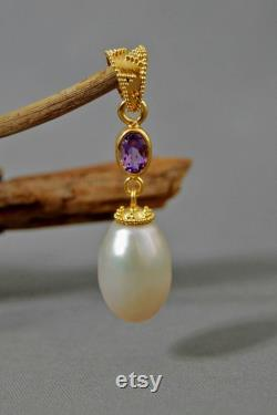 Aaloka Rose de France and Pearl Pendant Gold Vermeil