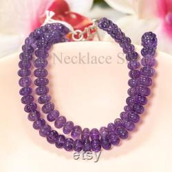 African Amethyst Gemstone Carving Necklace, Amethyst Beaded Necklace, Amethyst Necklace, Carving Necklace, Rondelle Necklace For Women, Gift