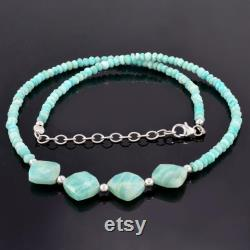 Amazonite beads necklace amazonite beaded necklace genuine amazonite necklace sterling silver amazonite jewellery rondelle faceted necklace