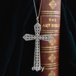 An Early 20th Century Platinum Old-cut And Circular-cut Diamond Cross Pendant With Chain