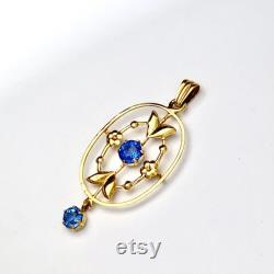 Antique Edwardian Sapphire Paste 9CT Gold Pendant
