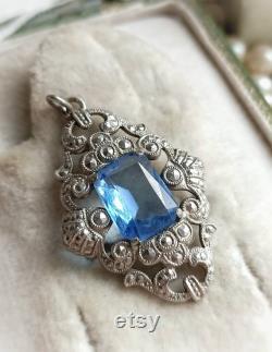 Antique French Art Deco Aquamarine Glass Stone Silvered Ornate Pendant, Sky Blue Stone Ornate Pendant, Romantic Wedding, Gift for Her