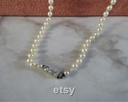 Antique String of Pearls with Diamond Clasp